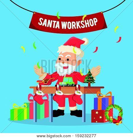 santa workshop illustration design eps10 vector illustration design