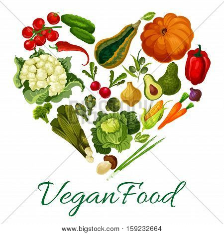 Heart of vegetables pattern. Vector symbol of vegan food with fresh vegetarian pumpkin, cauliflower and broccoli cabbage, avocado, corn, mushroom, kohlrabi, broccoli, pea, pepper, cucumber and tomato, potato, beet, carrot radish