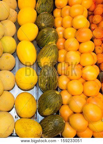 Shelf With Fresh Organic Fruits On A Farm Market Supermarket.