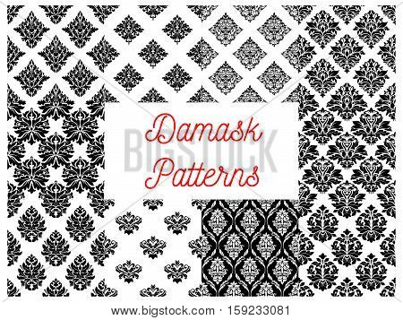 Damask patterns. Vector ornate floral motif for drapery and tracery luxury backdrops. Flowery ornate ornament tiles. Vector seamless flourish background with floral ornate motif. Royal rococo embellishment and ornamental tracery design