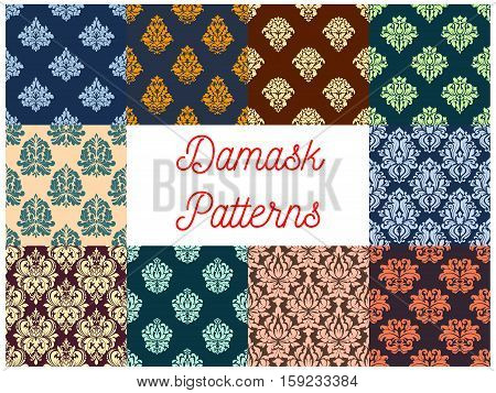 Damask patterns. Drapery and tracery luxury backdrops. Flowery ornate ornament tiles. Vector seamless background with floral ornate motif. Royal rococo embellishment and ornamental tracery design
