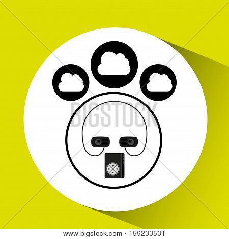 music cloud connection mp3 speaker graphic vector illustration eps 10