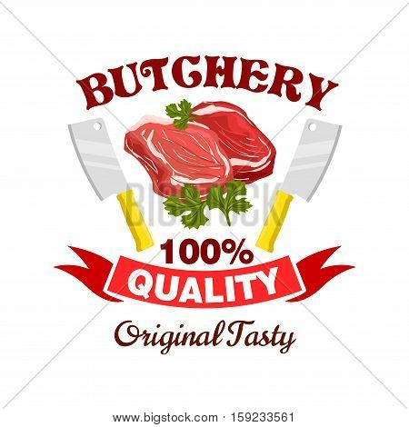 Butcher shop badge. Fresh pork, mutton or beef meat icon. Raw tenderloin filet, bacon sirloin, T-bone meaty chop slice for restaurant menu, grocery, steak house and butchery farmer shop. Vector icon, sign with meat steak, hatchet knives, ribbon, spices