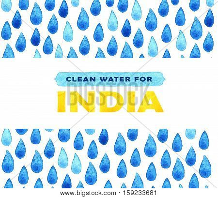 Charity Clean Water Poster. Social Illustration About Problems India. Giving Donations For Indian Ch