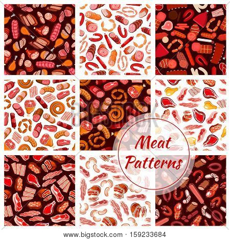Meat patterns set. Vector seamless background of fresh butcher shop delicatessen meat sausages, ham bacon, beefsteak, schnitzel, salami and pepperoni wurst