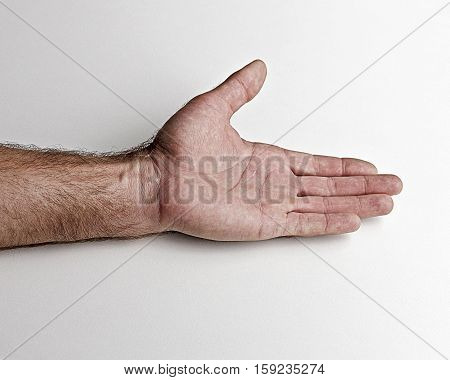 Men's left hand.Open hand on a white background