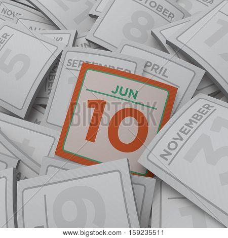 3d rendering random calendar pages jun 10