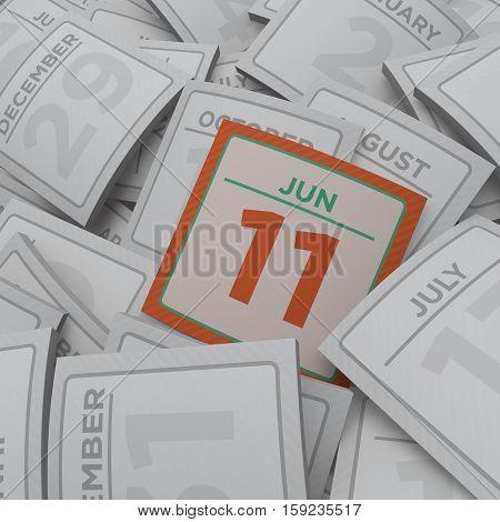3d rendering random calendar pages jun 11