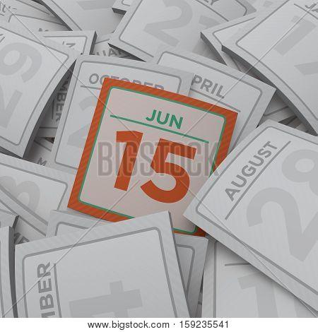 3d rendering random calendar pages jun 15