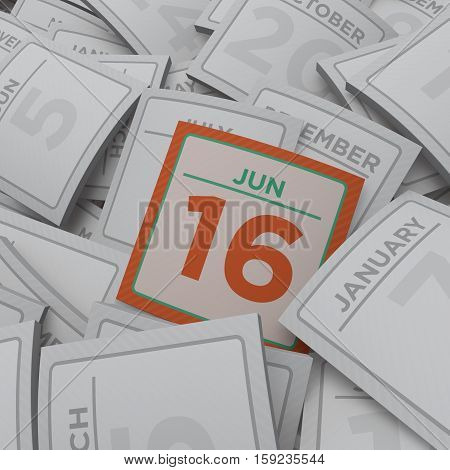 3d rendering random calendar pages jun 16