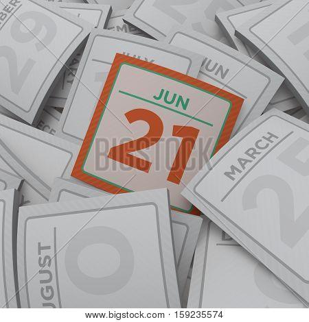 3d rendering random calendar pages jun 21
