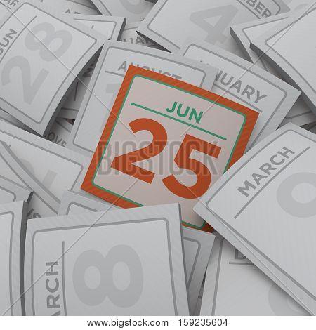 3d rendering random  calendar pages jun 25