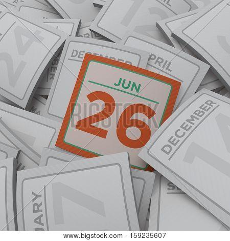 3d rendering random  calendar pages jun 26