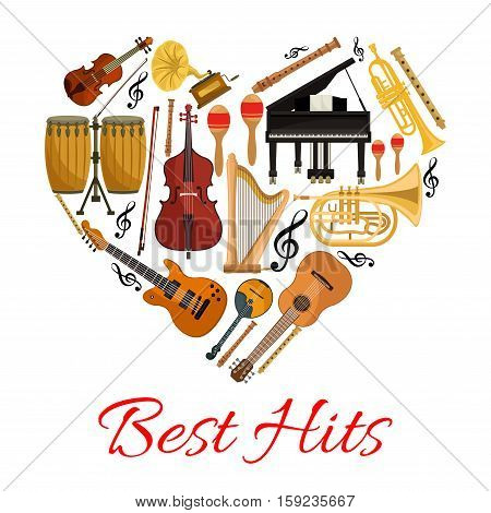 Best hits musical instruments symbol in shape of heart. Vector isolated icons string and wind musical instruments electric and acoustic guitar, saxophone, harp, drum cymbals , violin bow, trumpet, piano, maracas