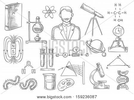 Vector sketch isolated icons. Science and research items of telescope, scientist book, atom and DNA helix , magnet, chemical test flask, globe planet model, prism light and geometry formula, bacterium and cell in microscope, electric circuit
