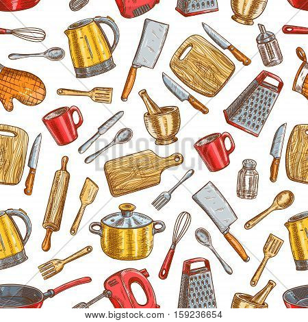Kitchenware pattern. Vector seamless background of dishware and cooking utensils. Sketch electric up, salt and pepper, spatula and knife, kettle, grater with cooking glove, cutting board, fork, mixer, saucepan and frying pan