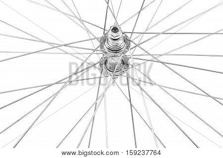 Bicycle wheel with spokes and the sleeve isolated on white background.