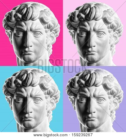 collage made of gypsum head of Michelangelo's David isolated,  Andy Warhol style
