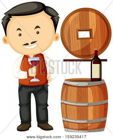 Winemaker holding glass of wine illustration