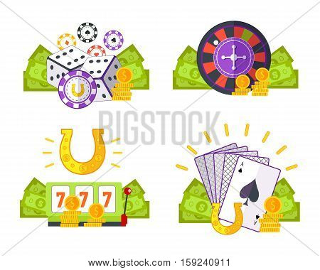 Set of gambling vector illustrations in flat style. Good luck, poker, casino concepts with assessors. Illustrations for gambling industry, sport lottery services, icons, web pages, logo design.
