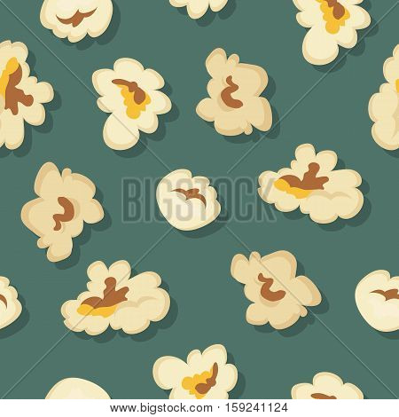 Popcorn seamless pattern vector in flat style design. Traditional salty, sweet snack. Ornament for wallpapers, polygraphy, textiles, web page design, surface textures. Isolated on colored background.