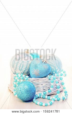 Blue Chritmas Balls Decorated In Basket With White Copy Space