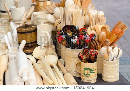 Wooden kitchen utensils (street trading on Slavic Bazaar in Vitebsk) Belarus
