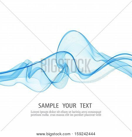 Abstract smooth color wave vector. Curve flow blue motion illustration. Smoke blue wave design. Vector lines.eps10