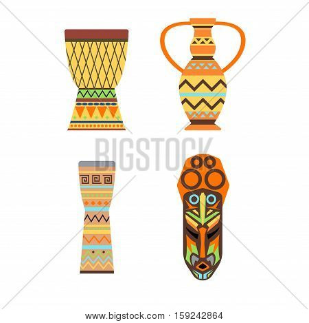 Africa symbols handmade performance beat bongo. Jungle ethnic culture travel icons set isolated vector illustration. Mask and tradition painting instrument sound.