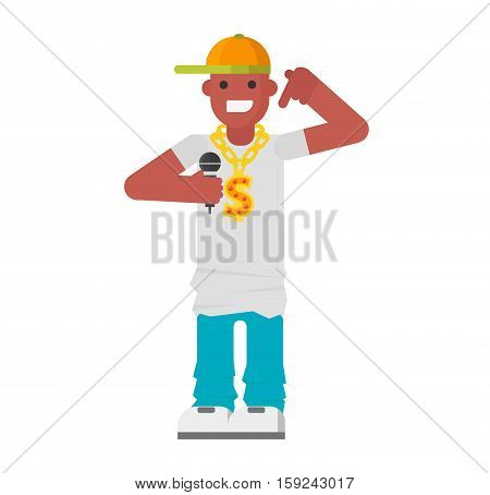 Rapper character urban african american hip hop rapper wearing cool cloth. Funny facial dude rap music man fashion guy vector avatar. Pop music microphone tool.