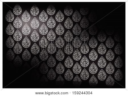 Thai Foral Pattern Illustration of Beautiful Black Vintage Texture Background for Add Content or Picture.