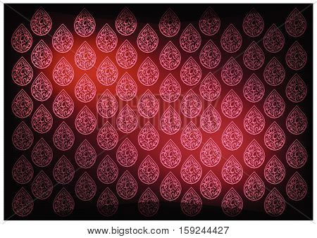 Thai Foral Pattern Illustration of Beautiful Red Vintage Texture  Background for Add Content or Picture.