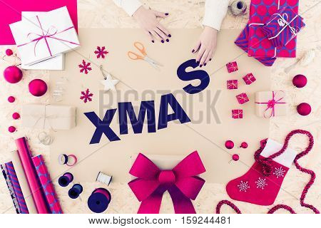 Woman Is Packing Christmas Presents