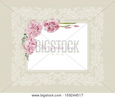 Romantic wedding invitation. Vintage card with pink and yellow flowers and floral white outline frame