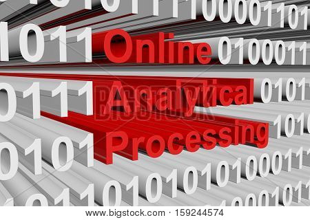 Online analytical processing in the form of binary code, 3D illustration