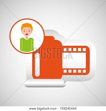 cartoon roll camera photo guy design vector illustration eps 10
