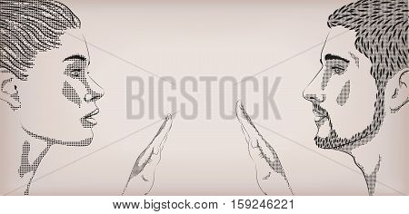 Woman and male loving couple tender touch touching hands love face to face profile. Vector horizontal beautiful lovely sign signboard close-up side view illustration beige background