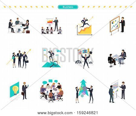 Set of business banner teamwork and solution. Success businessman searching for oppotrunities, professional support, knowledge and teamwork, business solution, strategic management, human resources