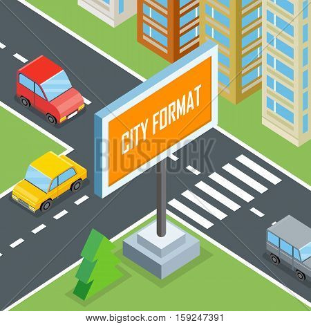 City format. Urban crossroads with cars and houses, pedestrians. Town street view 3d design concept with buildings, markings, road signs and traffic. Part of series of city isometric. Vector