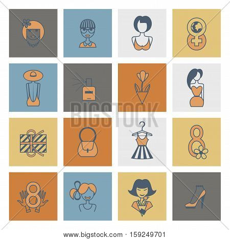 Design Elements for International Womens Day March 8, Icons. Vector. Minimum Points