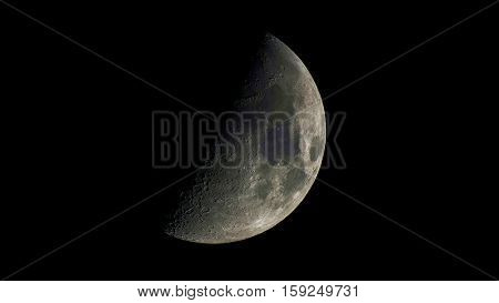 A view of a first quarter of the moon. Nov 2016