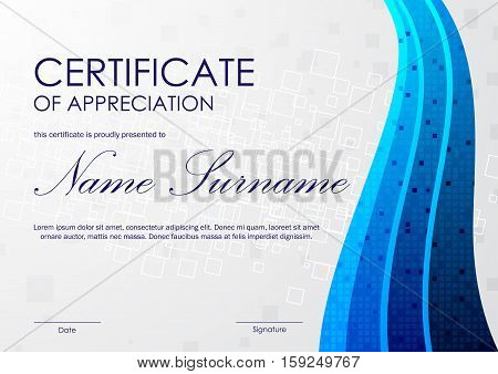 Certificate of appreciation template with gray square pattern and blue digital wavy swirl mosaic background. Vector illustration
