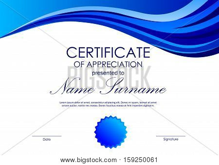 Certificate of appreciation template with blue wavy background and seal in light style. Vector illustration