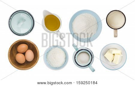 Collage of baking ingredient objects isolated on white top view