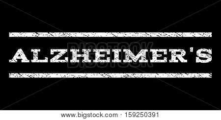Alzheimer'S watermark stamp. Text tag between horizontal parallel lines with grunge design style. Rubber seal white stamp with scratched texture. Vector ink imprint on a black background.