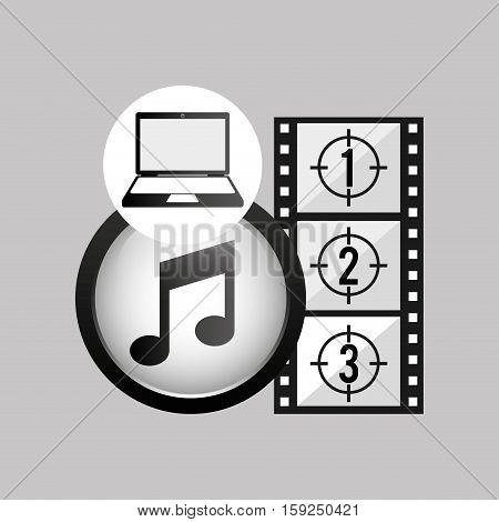 laptop media player music video vector illustration eps 10