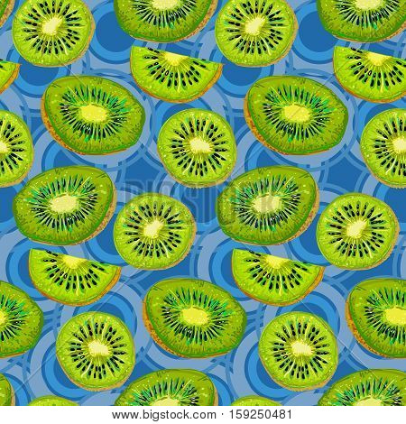 Kiwi seamless pattern. Seamless background consisting of a realistic slice of Kiwi fruit