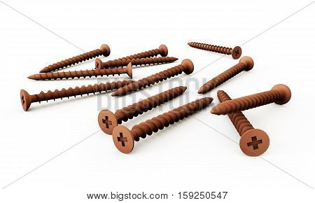 3d render of metal screw screw, spindle, washer, winder, wood