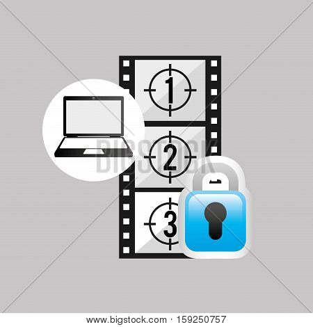 laptop media player movie secure vector illustration eps 10
