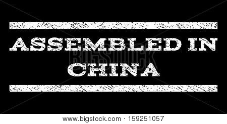 Assembled In China watermark stamp. Text tag between horizontal parallel lines with grunge design style. Rubber seal white stamp with dust texture. Vector ink imprint on a black background.
